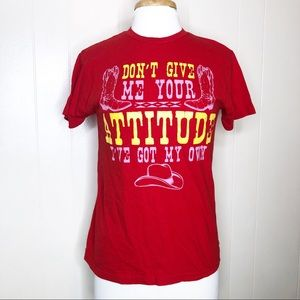"""Vintage Y2K Red Western Cowgirl T-shirt """"Don't Give Me Your Attitude…"""" Small"""